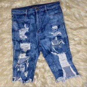 Fashion Nova Distressed Cut Off Blue Jeans Sz 1X